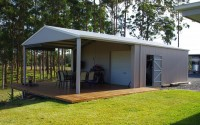storage shed with entertainment area